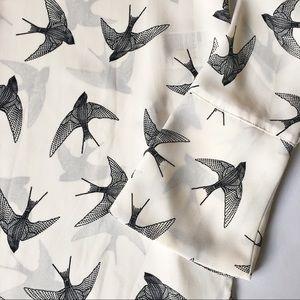 H&M Bird Print Tunic Blouse Top